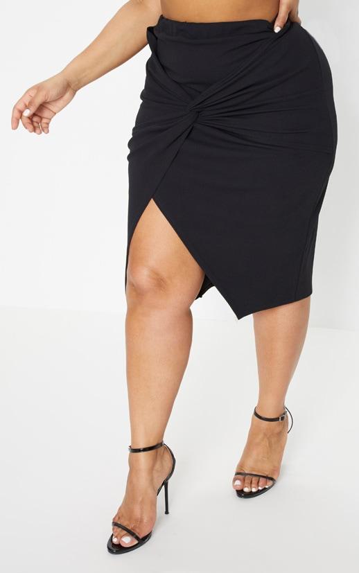 Plus Black Knot Front Midi Skirt 2