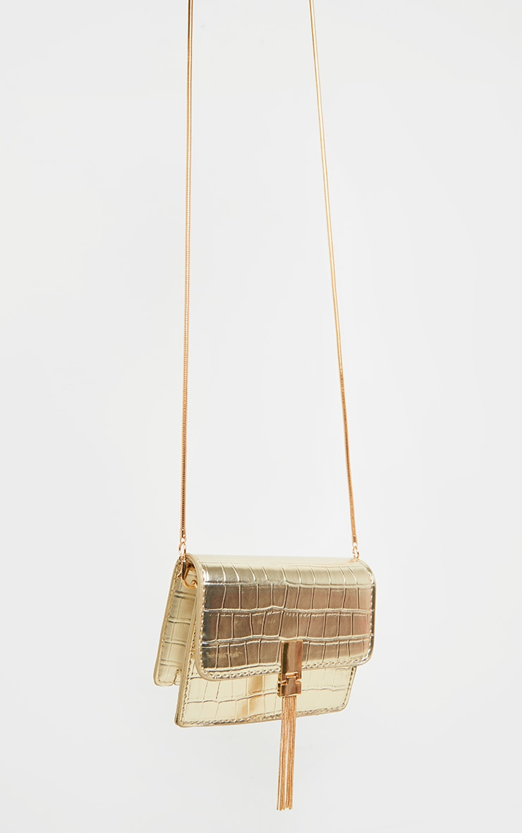 Gold Croc Cross Body  Bag 1