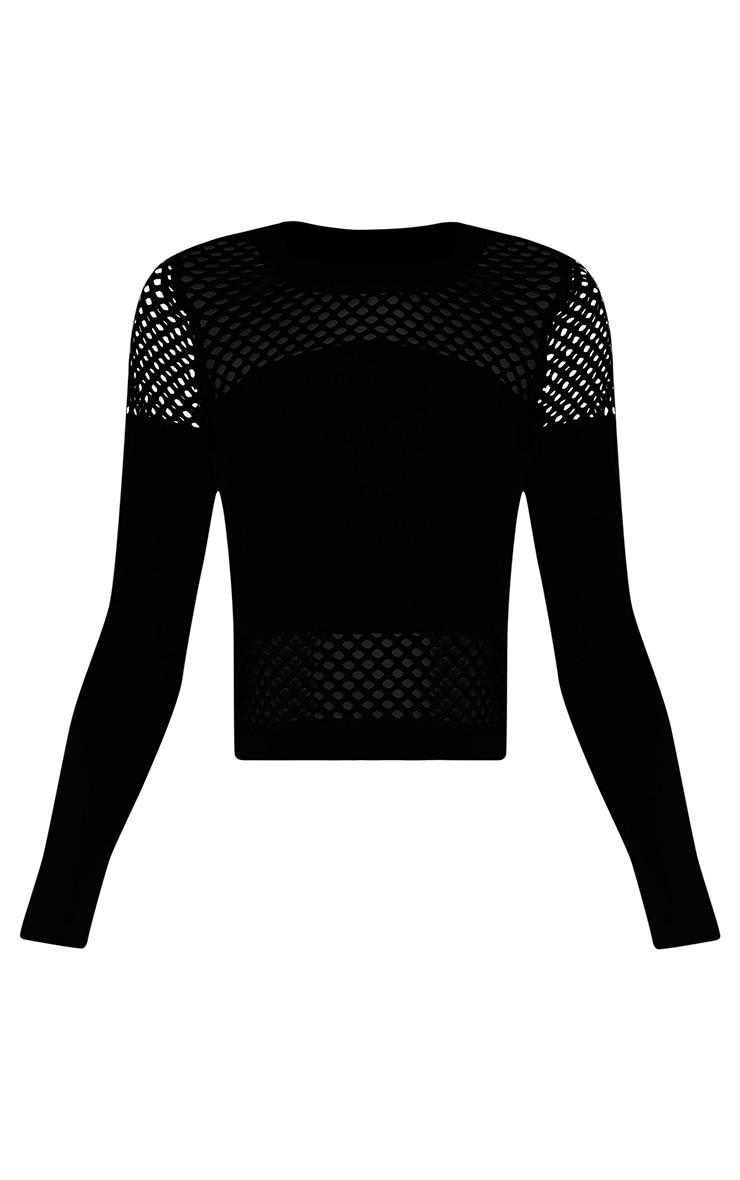 Justina Black Fishnet Panel Sweatshirt 3