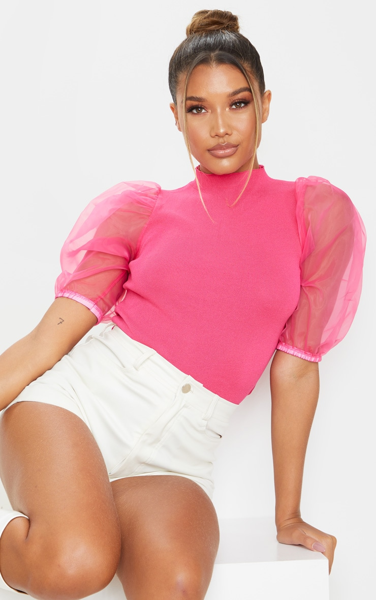 Hot Pink Organza Puff Sleeve Knitted Top image 1