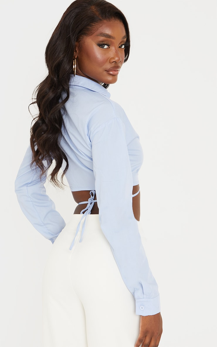 Tall Blue Cropped Long Sleeve Tie Shirt 2