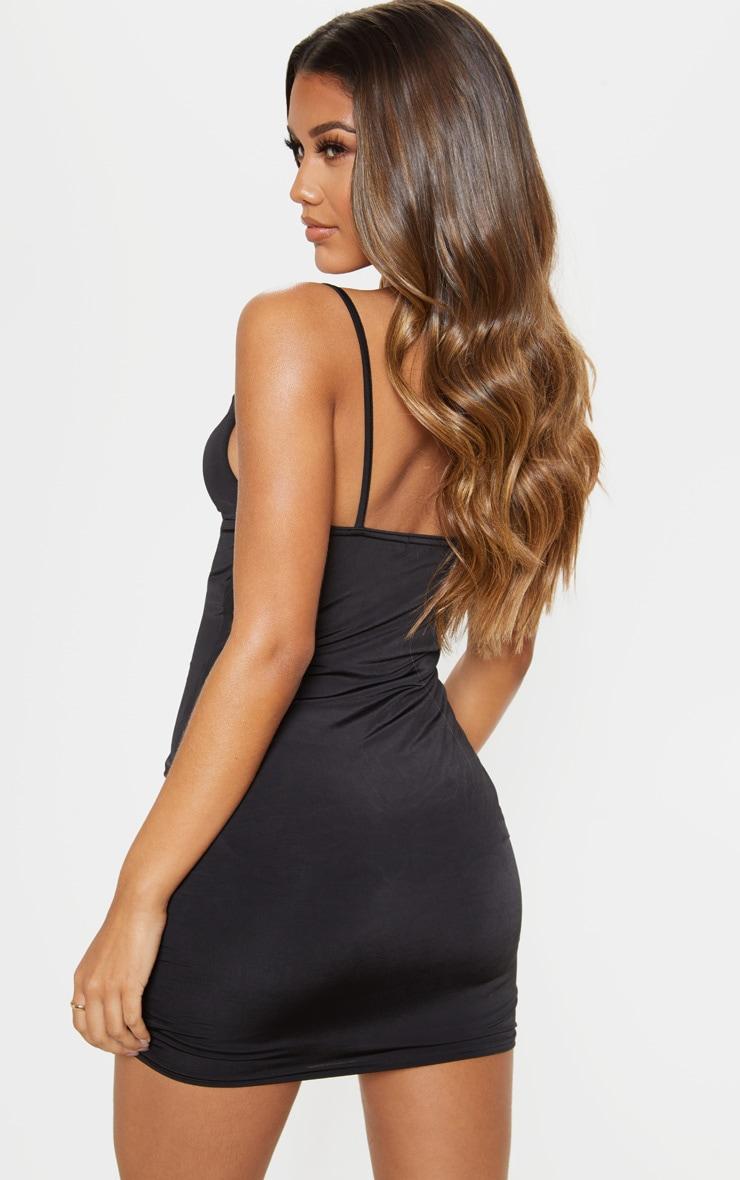 Black Cowl Neck Strappy Bodycon Dress 2