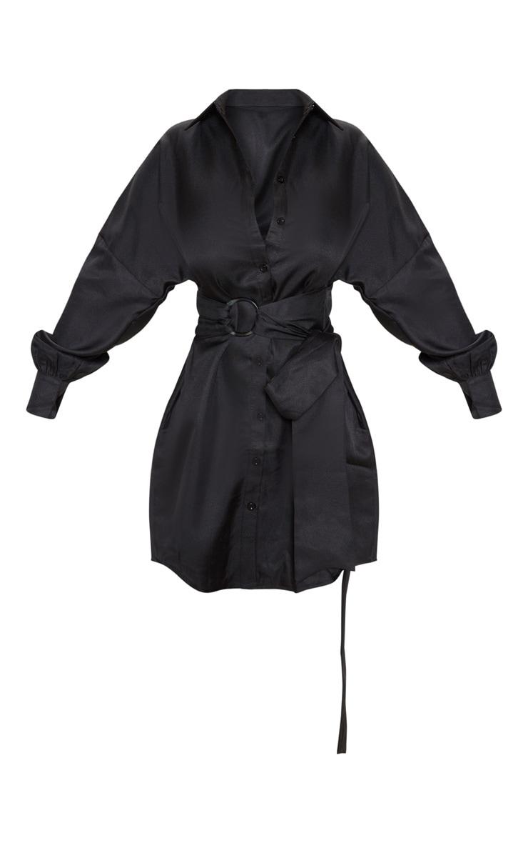 Robe chemise noire à ceinture nouée 3