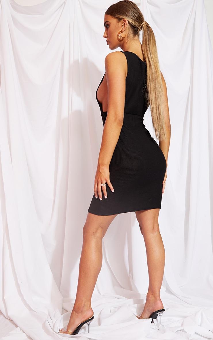 Black Brushed Rib Drop Arm Hole Midi Dress 2