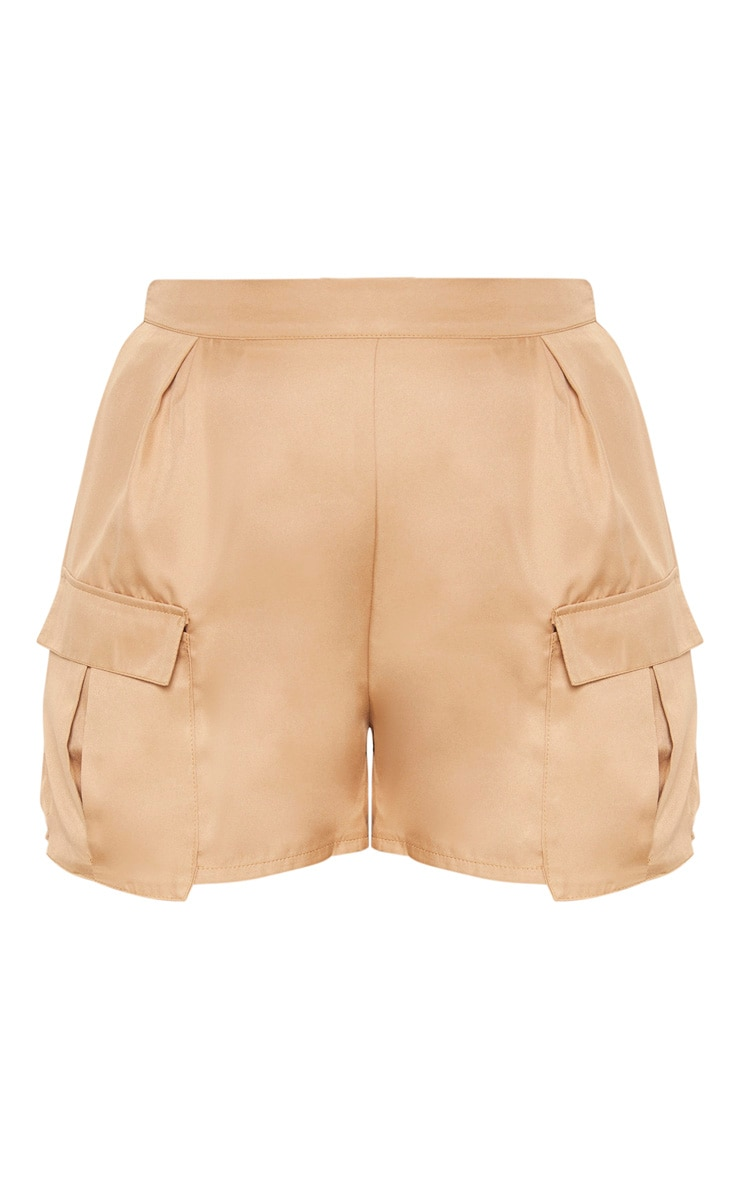 Plus Camel Pocket Detail Cargo Shorts 3