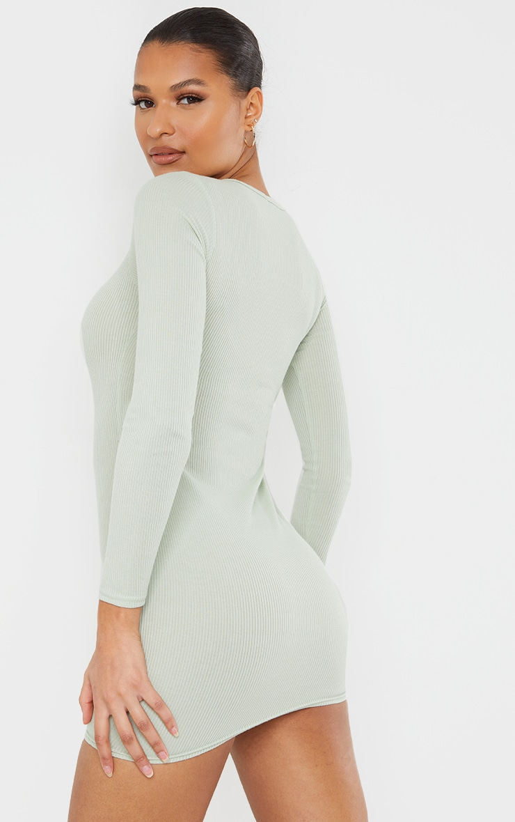 Sage Green Ribbed Long Sleeve Bodycon Dress 2