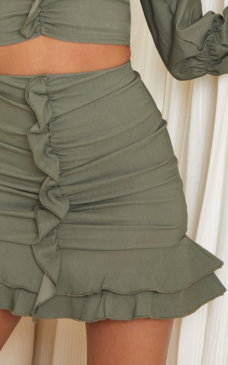 Khaki Woven Stretch Frill Ruched Front Mini Skirt 5