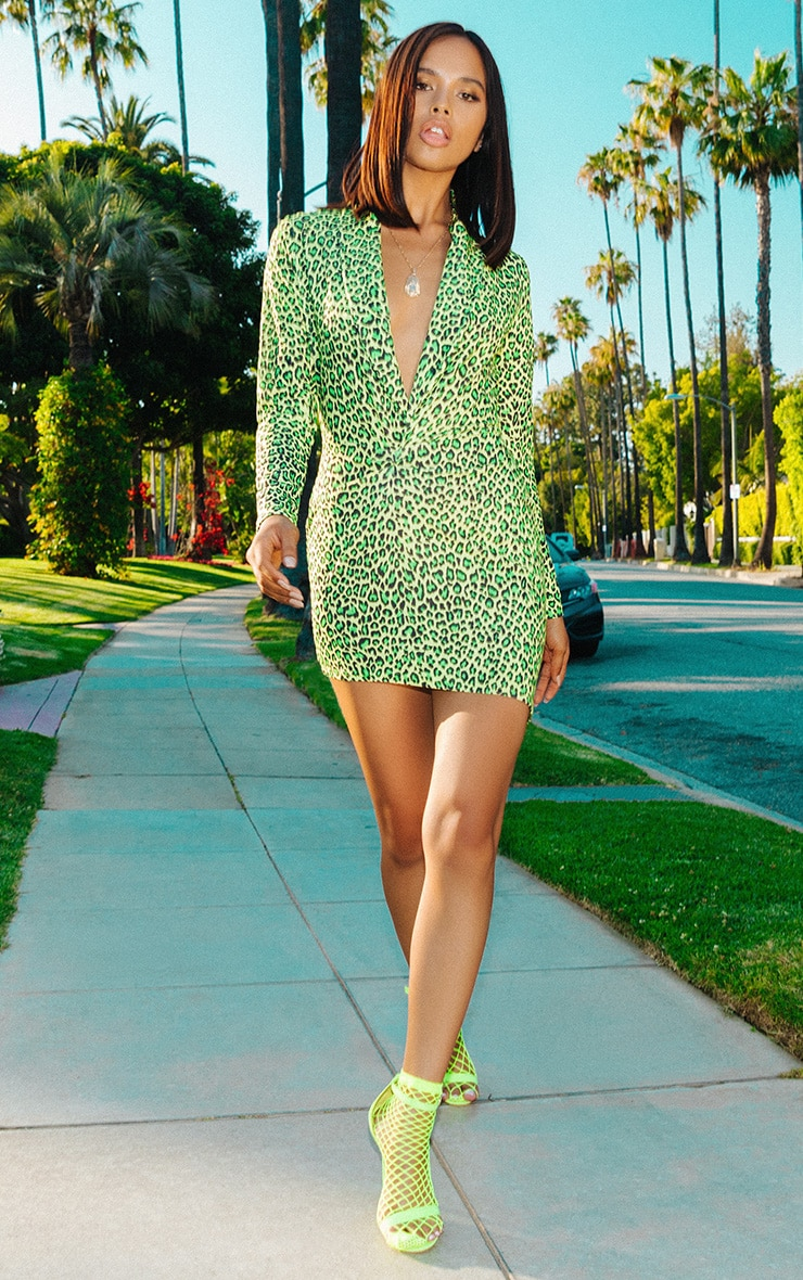 Lime Leopard Print Plunge Bodycon Dress