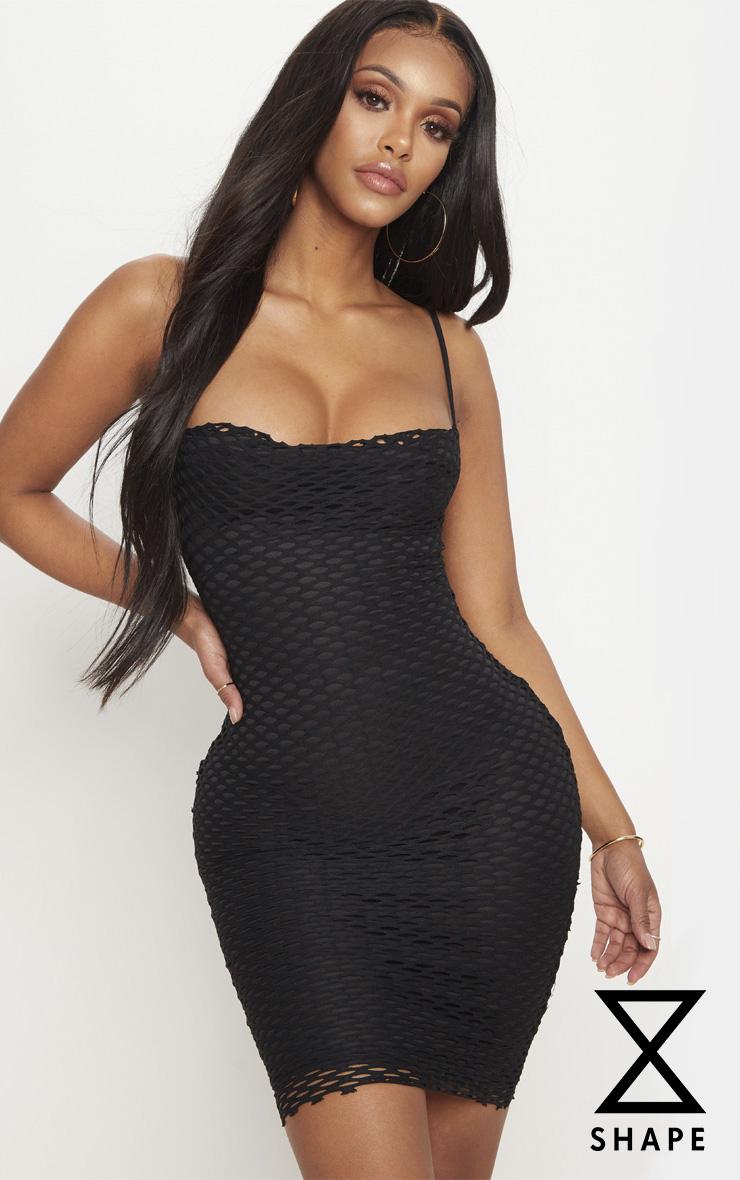 Shape Black Fishnet Cowl Bodycon Dress 1