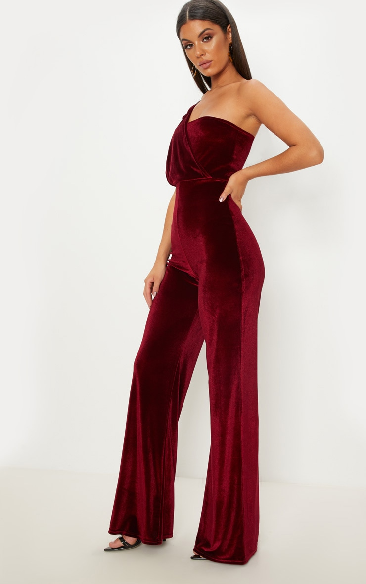 Burgundy Velvet Drape One Shoulder Jumpsuit 3