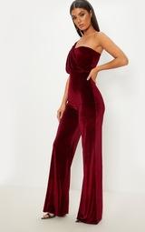 Burgundy Velvet Drape One Shoulder Jumpsuit 3
