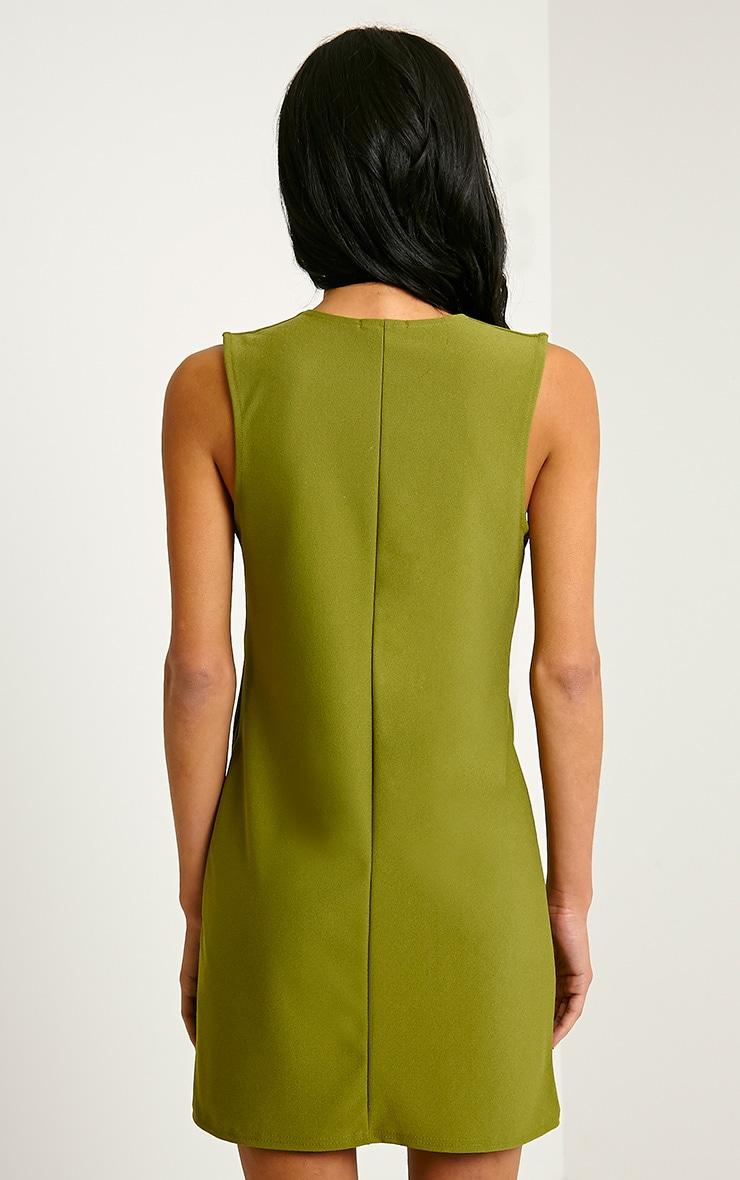 Ronnie Khaki Deep V Plunge Loose Fit Crepe Dress 2
