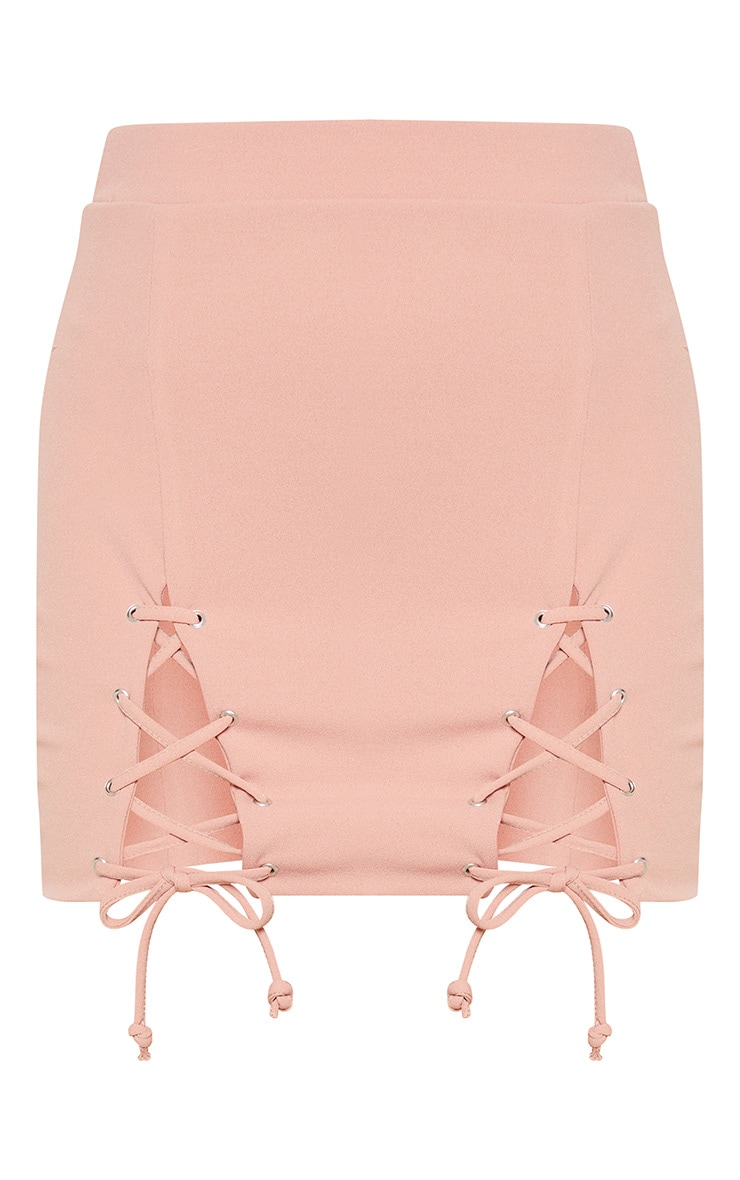 Pink Double Split Lace Up Mini Skirt 3