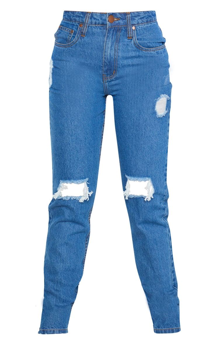 Tall Mid Wash Rip Knee Mom Jean 3