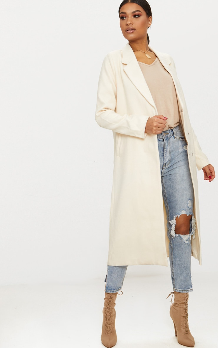 Cream Double Breasted Longline Coat 1