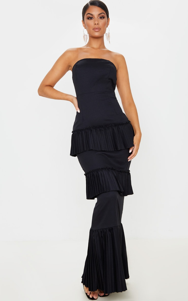 Black Pleated Tiered Bandeau Maxi Dress 1