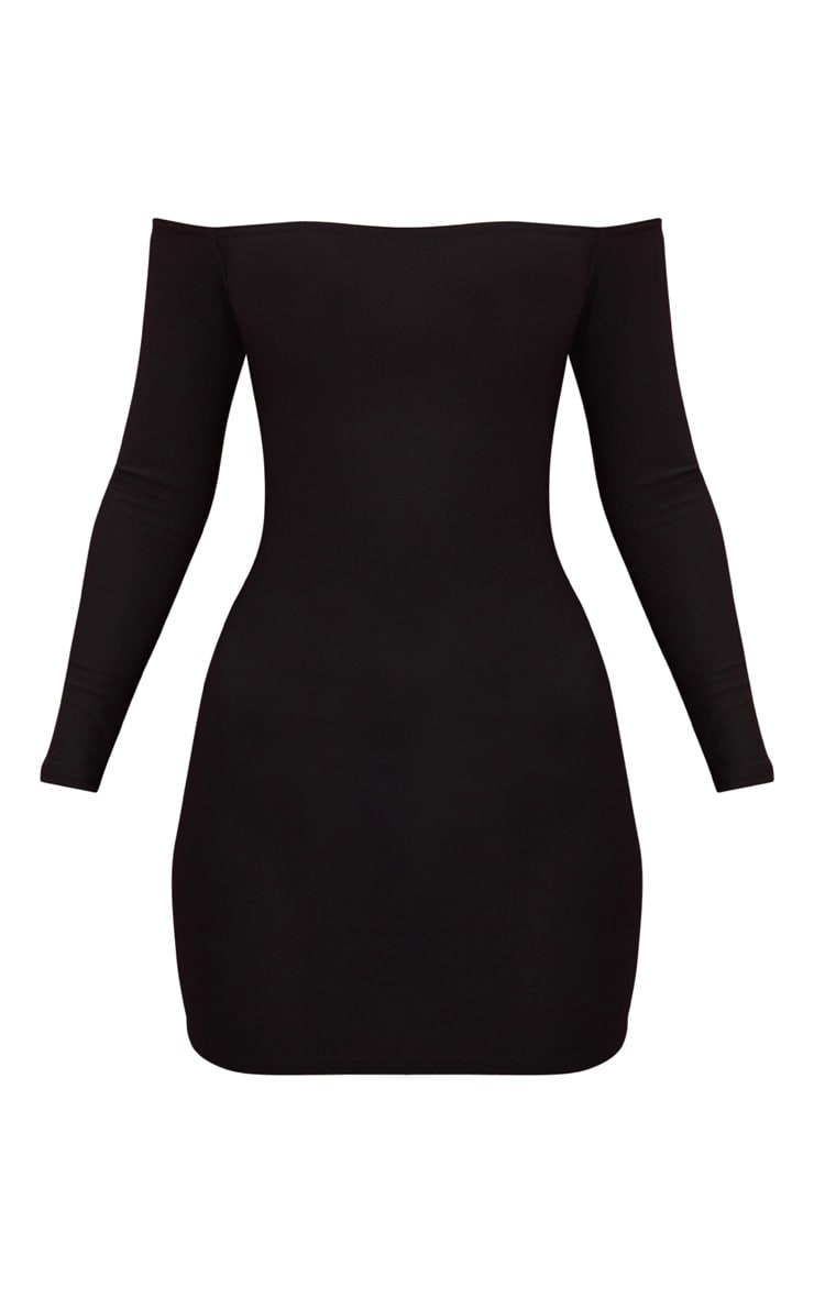 Black Choker Detail Bardot Bodycon Dress 3