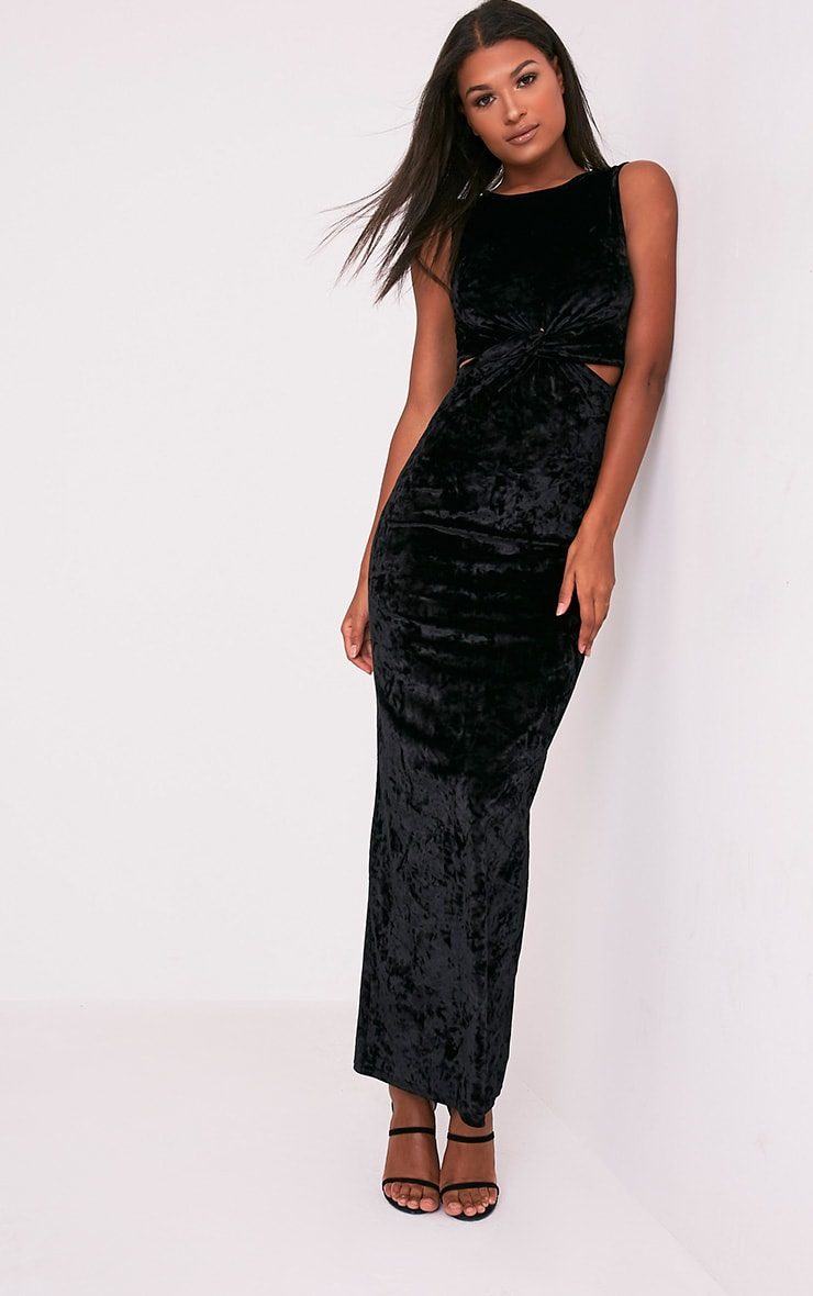 Jaydiah Black Crushed Velvet Cut Out Maxi Dress 4