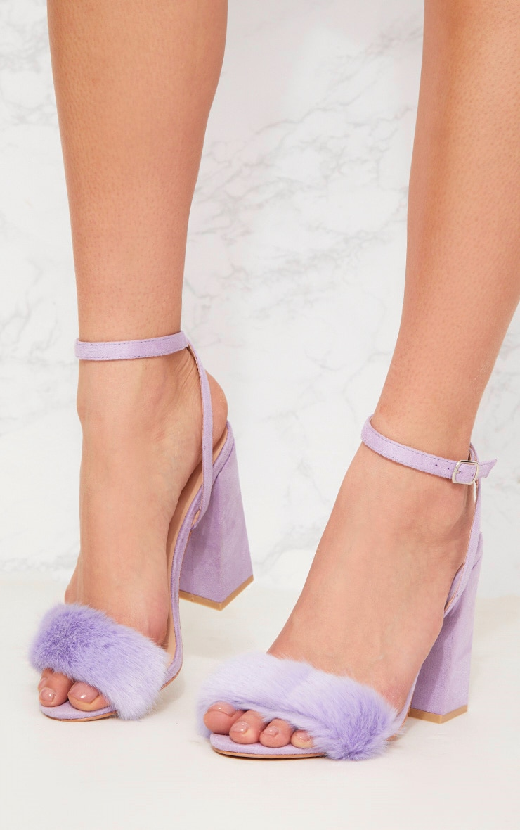 Lilac Faux Fur Strappy Block Heel Sandal 2