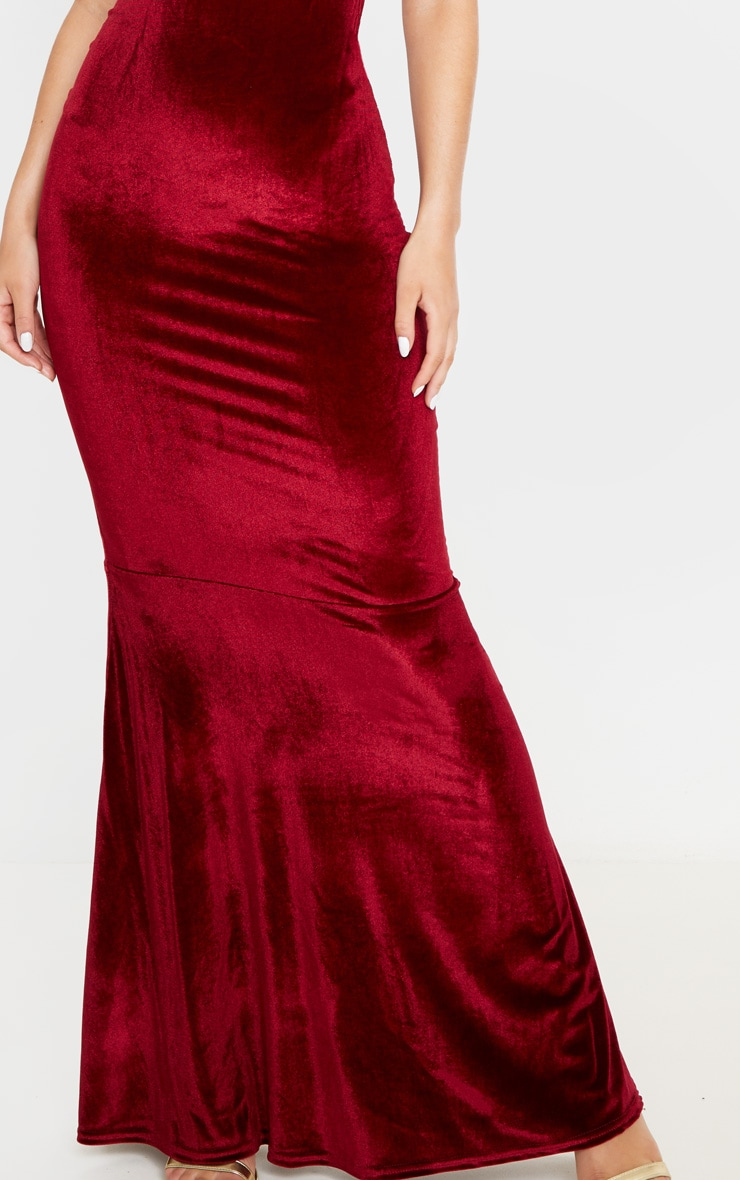 Burgundy Velvet Square Neck Fishtail Maxi Dress 5