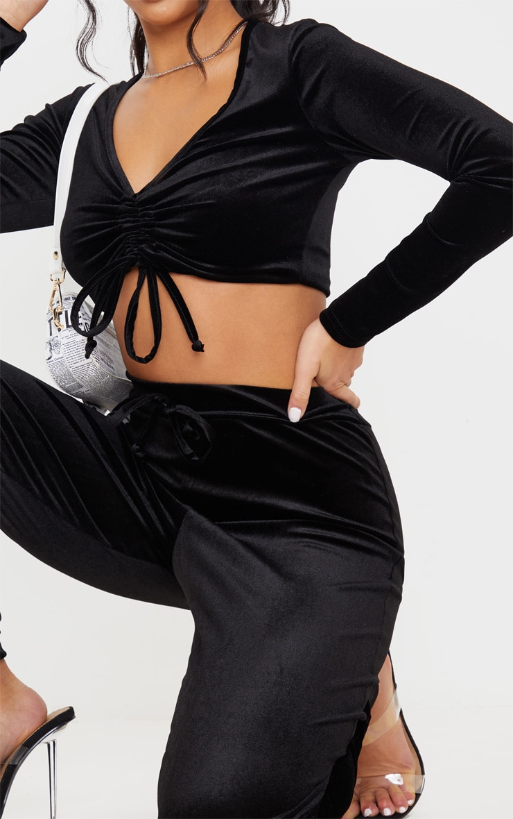 Petite Black Velour Long Sleeve Ruched Crop Top 5
