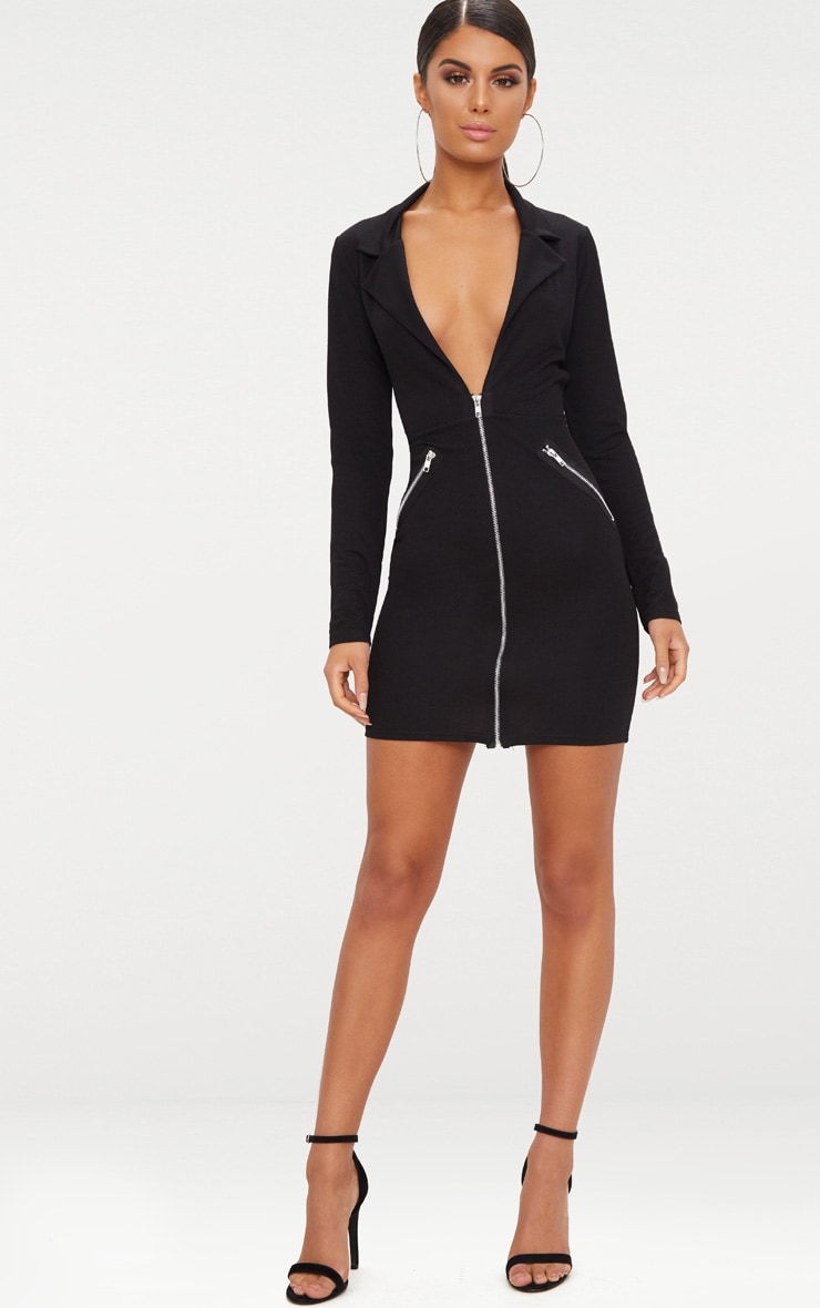 Black Zip Detail Blazer Bodycon Dress 4