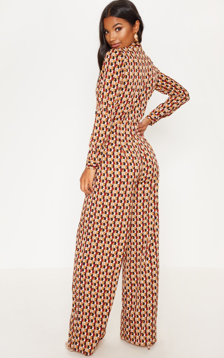 Rust Geo Oversized Wide Leg Jumpsuit 1