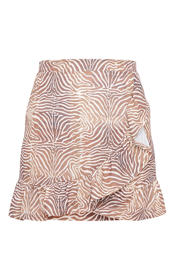 Brown Zebra Frill Hem Wrap Mini Skirt 6