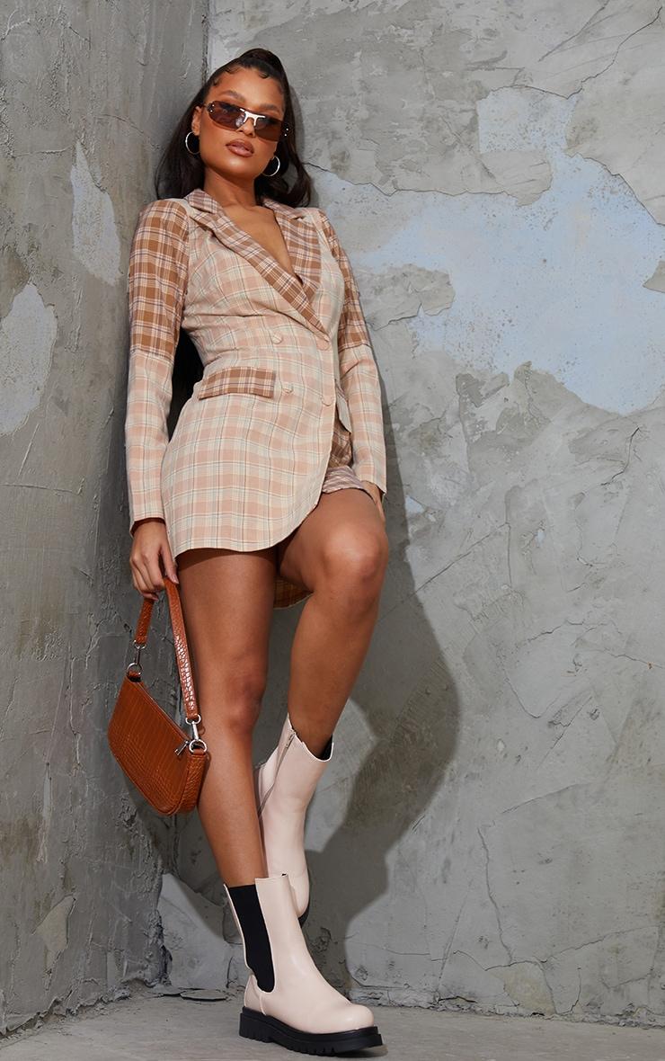Stone Shoulder Pad Contrast Check Button Shirt Dress 3