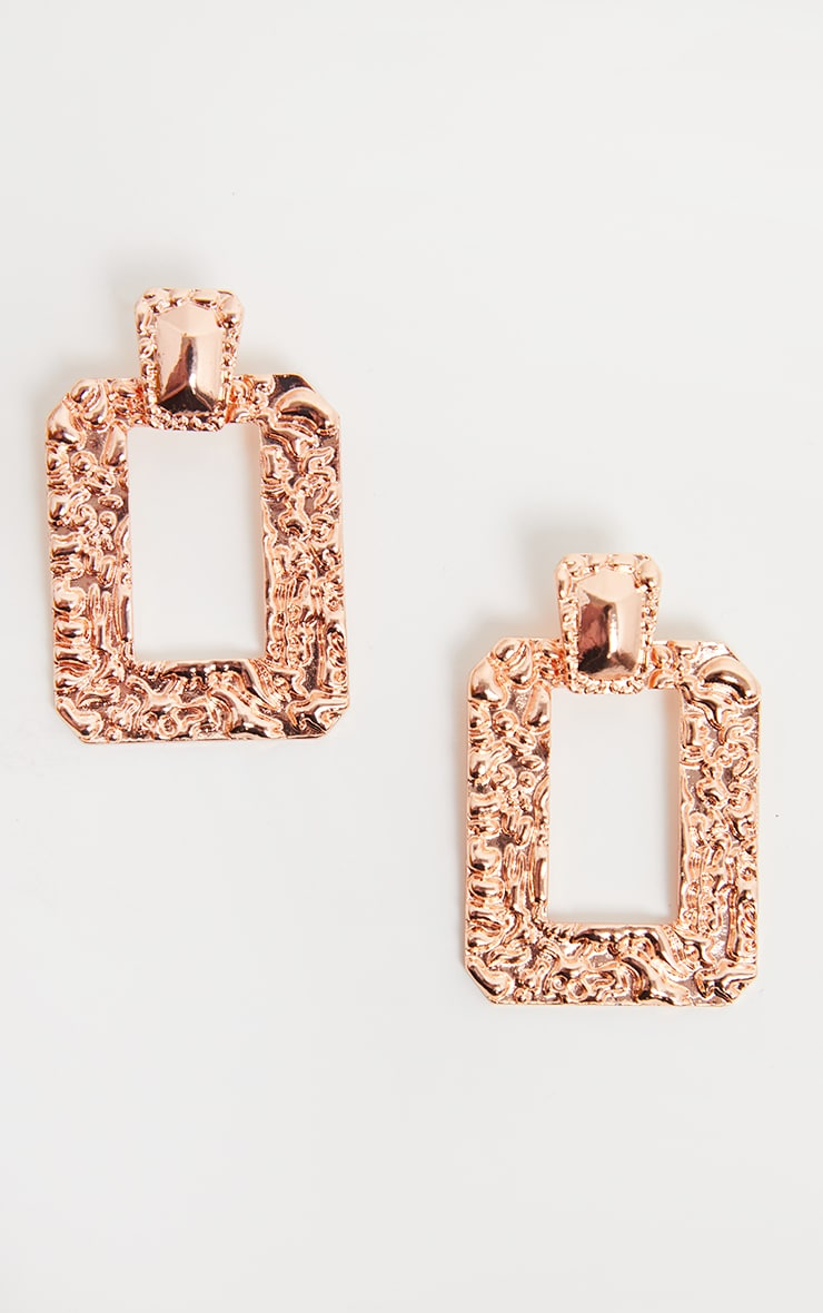 Rose Gold Hammered Square Statement Drop Door Knocker Hoops 2