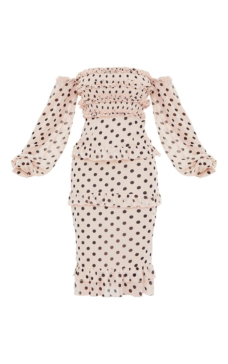 Stone Polka Dot Shirred Ruffle Bardot Midi Dress 5