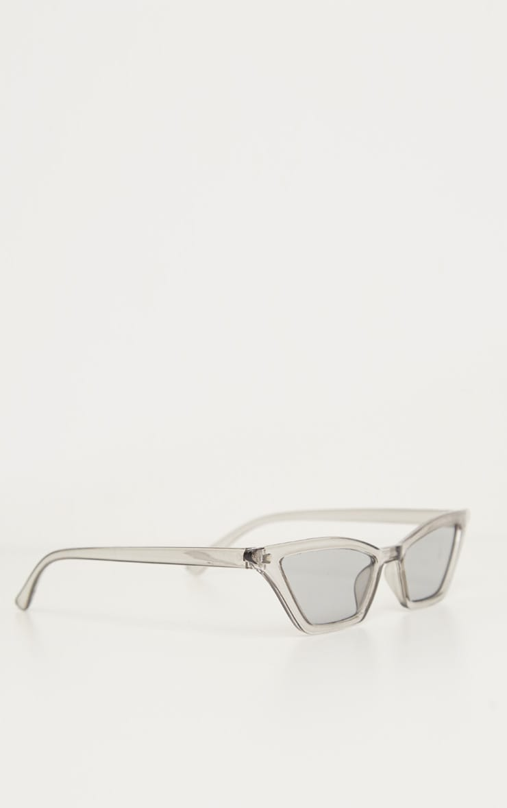 Grey Narrow Slim Angular Cat Eye  Sunglasses 3