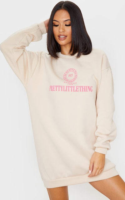PRETTYLITTLETHING Sand Slogan Oversized Jumper Dress