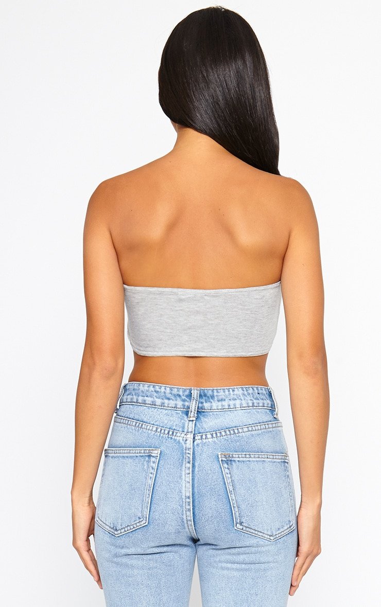Basic Grey Ruched Front Bandeau Top 2