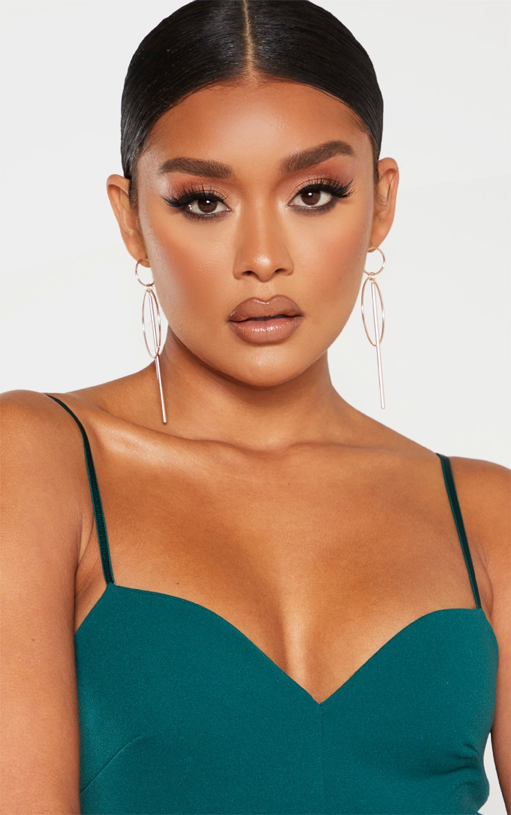 Emerald Green Sweetheart Neck Strappy Bodysuit 4