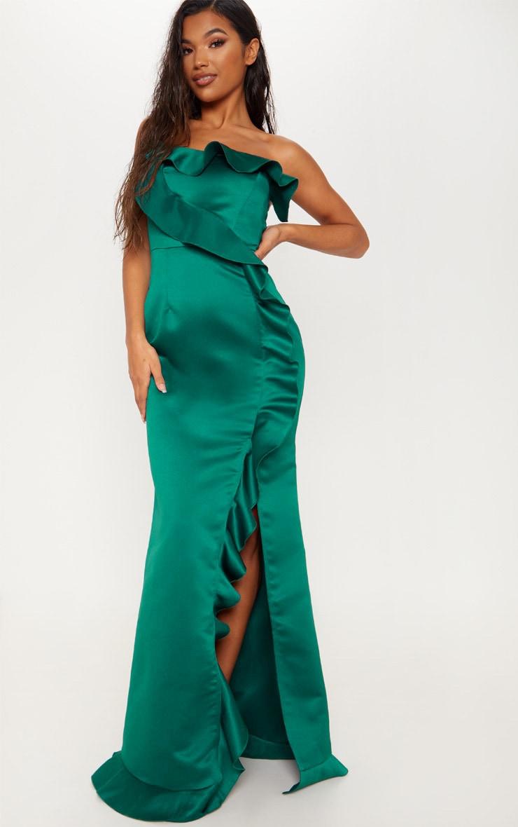 Emerald Green Satin Frill Detail Bandeau Wrap Maxi Dress by Prettylittlething