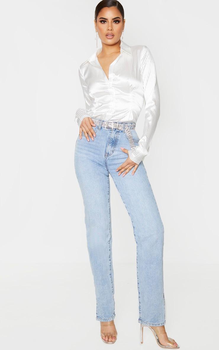 Tall Cream Stripe Satin Button Up Button Shirt 2