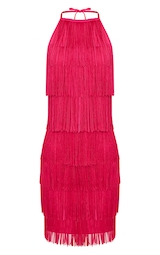 5b299018f4 Fuchsia Pink Tassel Detail Halterneck Bodycon Dress image 3