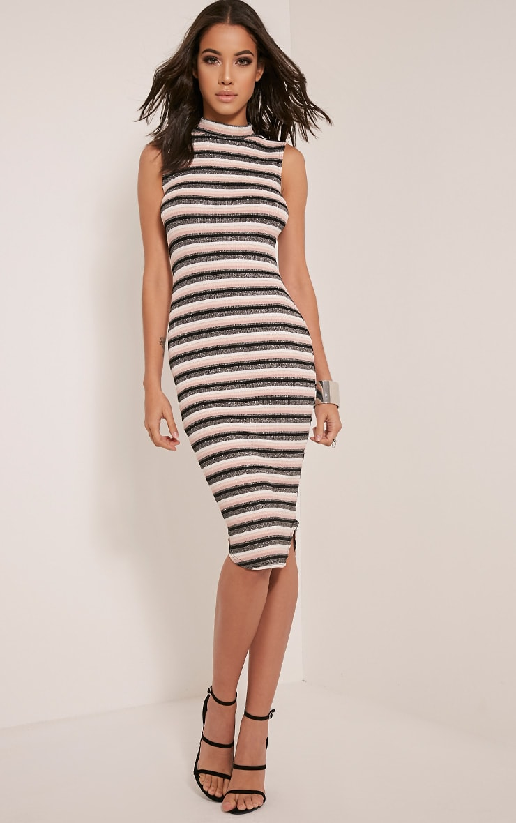 Maxine Dusty Pink Stripe Lurex Midi Dress 1