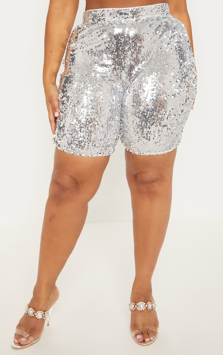 Silver Sequin Cycle Shorts | Plus Size | PrettyLittleThing