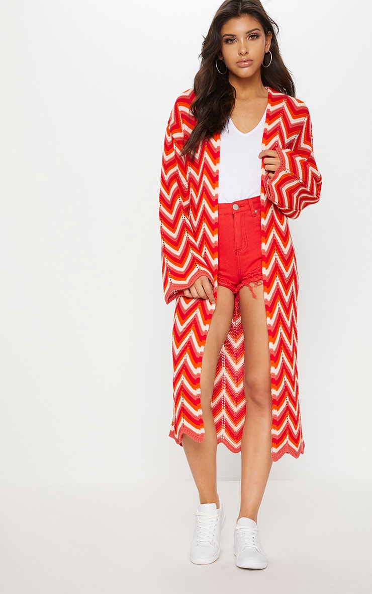 Red Zig Zag Maxi Cardigan by Prettylittlething