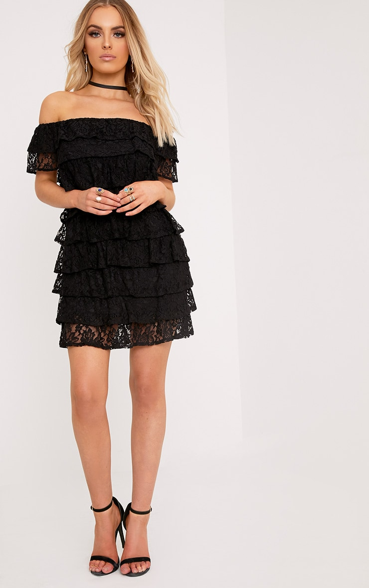 Lorella Black Lace Ruffle Layer Bardot Bodycon Dress 4