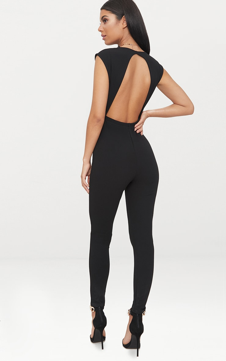 Black Crepe Plunge Open Back Jumpsuit 2