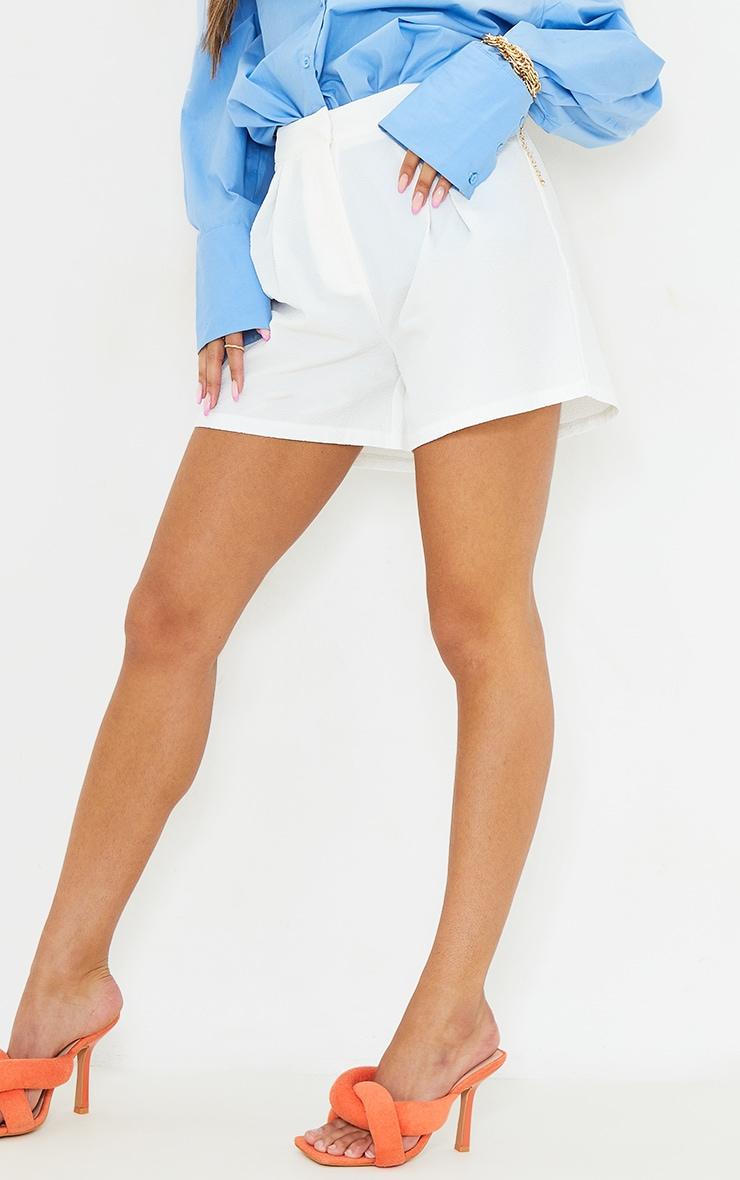 White Textured City Shorts 5