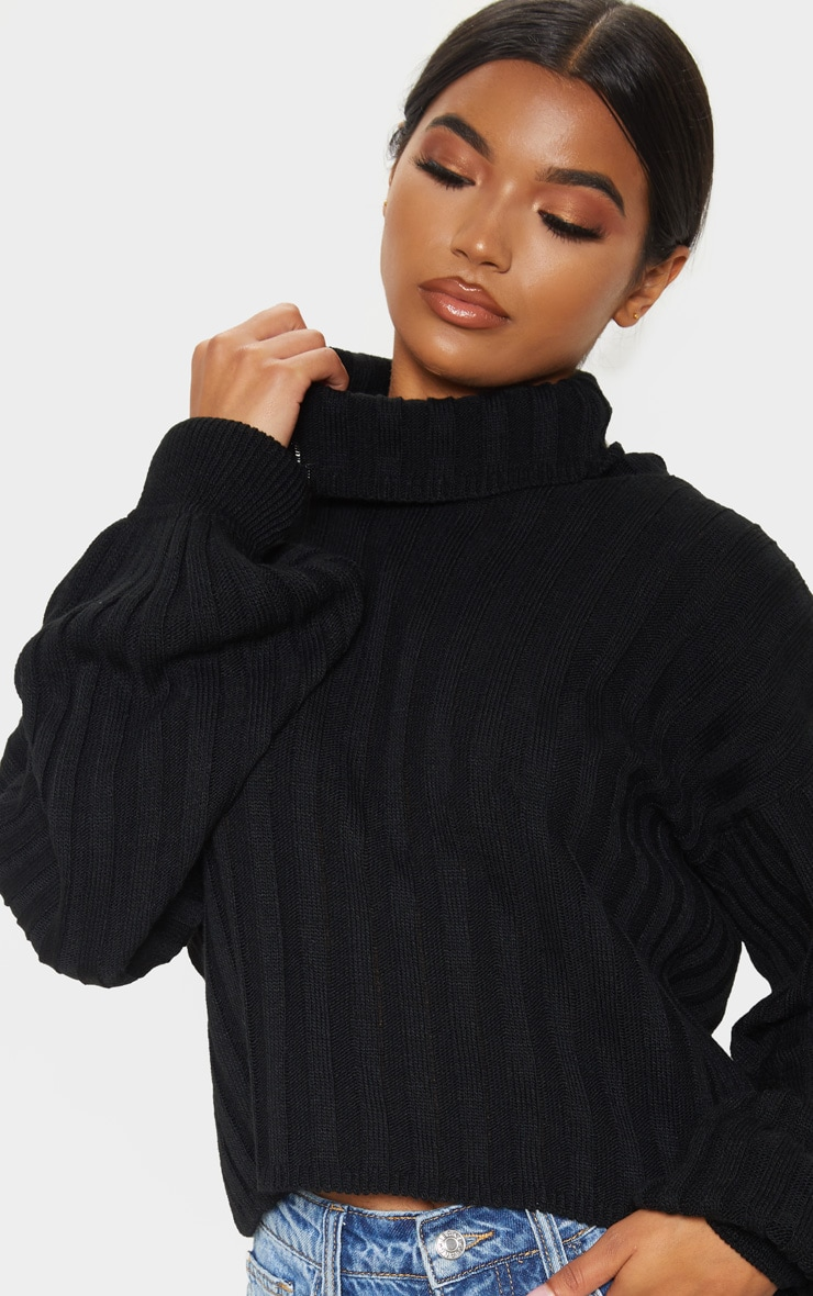 Black Balloon Sleeve Roll Neck Ribbed Sweater 5