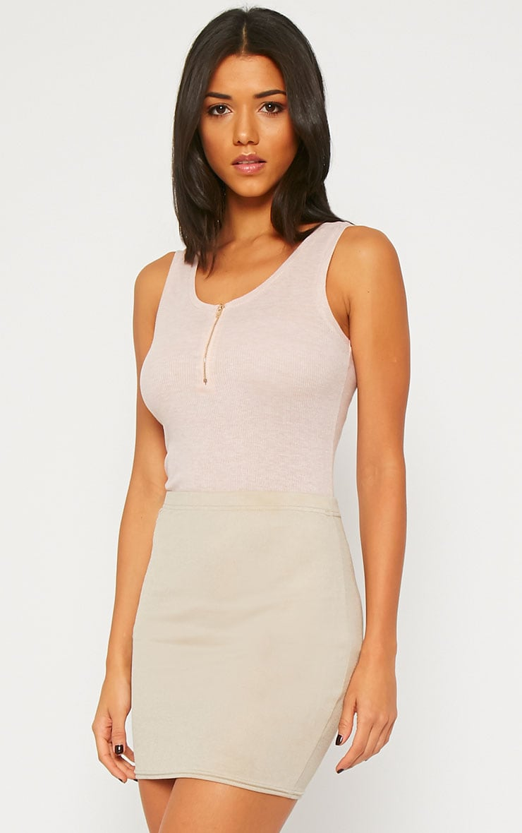 Basic Nude Zip front Ribbed Jersey Vest 6