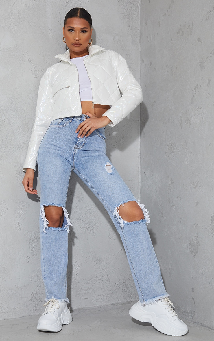 White High Shine Quilted Zip Pocket Cropped Jacket 1