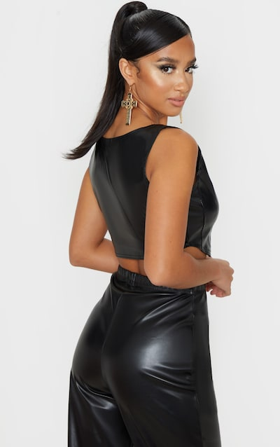 Petite Black Corset Detail Crop Top