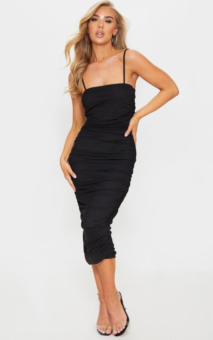 Black Strappy Mesh Midi Dress 1