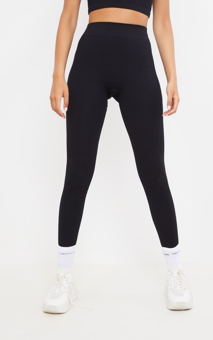 Tall  Black Structured Contour Ribbed Leggings 2